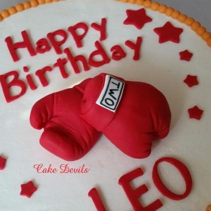 Boxing Gloves Cake Topper, Fondant,..