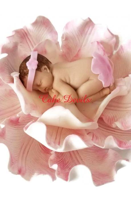 Baby in a Flower Fondant Cake Topper, Handmade Edible Sleeping Baby Girl Shower Cake Decoration, Gumpaste Peony, Rose