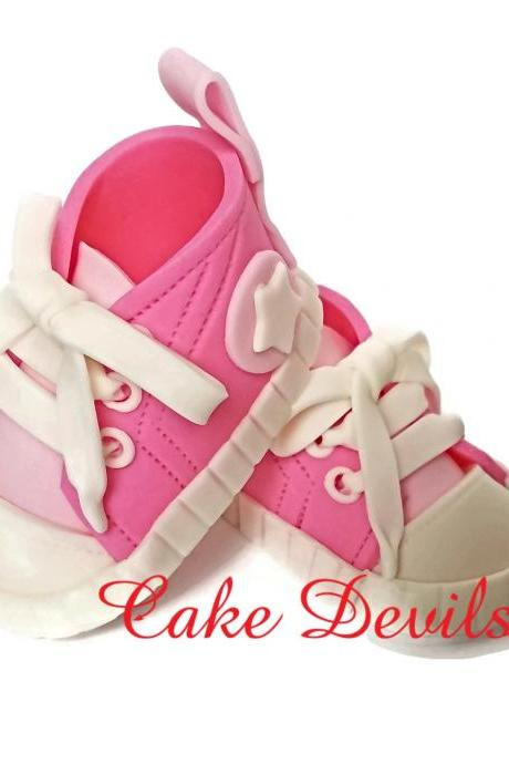Baby Shower Sneakers Cake Topper, Fondant Sneakers with grommets, Handmade Baby Sneakers, Baby Shower Cake Decorations, Baby Shoes