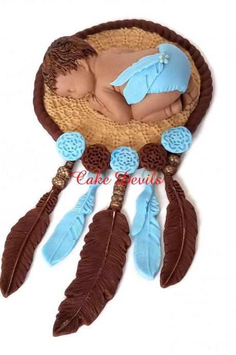 Bohemian Fondant Dream Catcher Cake Topper for Baby Shower, Tribal Sleeping Baby with feathers, handmade edible sugar boho cake decorations