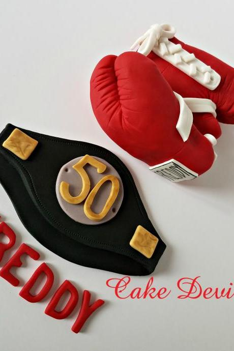 Boxing Gloves Cake Topper, Boxing Belt and Gloves with White laces, Fondant Boxing Gloves Cake Decorations, Handmade Edible boxer cake