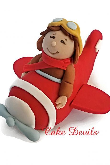 Boy in Plane Fondant Cake Topper, Coming in For a Landing Birthday Party Theme Decoration, Handmade Plane Cake Decoration, Handmade Edible