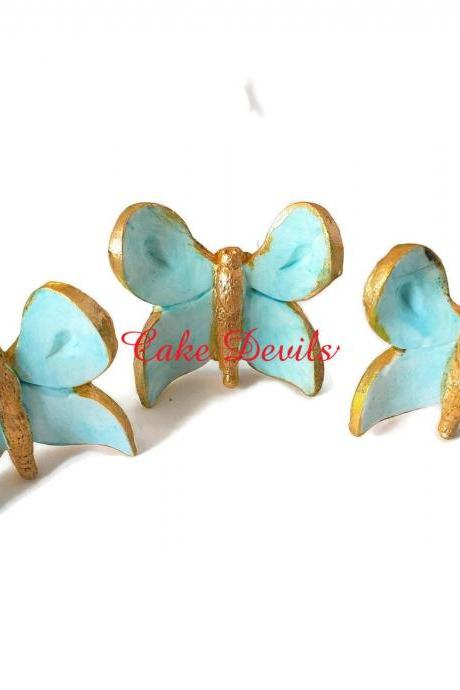 Butterfly Cake Decorations, Fondant Butterflies on wires, Butterfly Cake Toppers, Butterfly CupCake Toppers, Handmade Edible