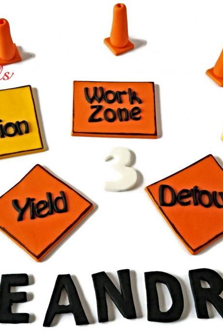 Construction Zone Cake Decorations, Fondant Construction Cake Toppers, Personalized Work Area Signs, Construction Cones, Handmade Edible