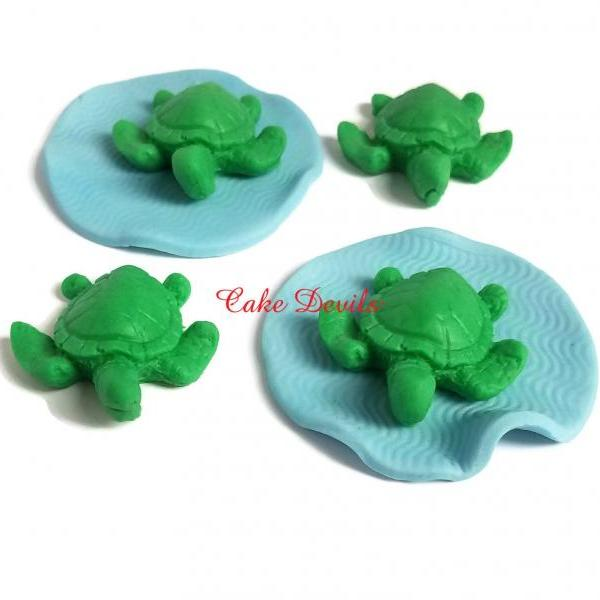 3D Fondant Turtle Cupcake Toppers, Handmade Edible Sea Turtle Cake Decorations, Turtle Birthday Party