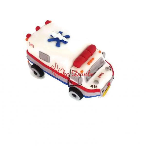 Ambulance Cake Topper, Fondant, Handmade Edible, ambulance cake decorations, medical cake topper, doctor, emt, nurse