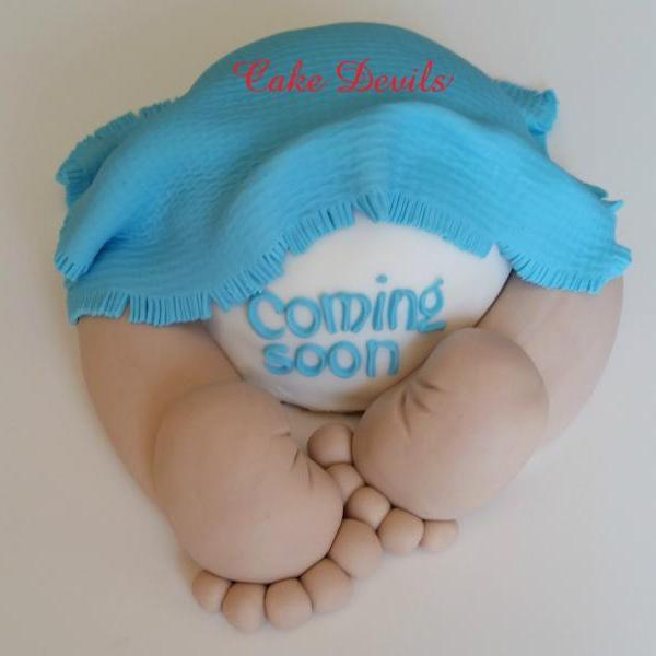 Baby Butt Baby Shower Cake Topper - Handmade Edible, Fondant Baby Shower Cake Decorations, Baby Shower Cake Decorations, Baby Girl, Baby Boy