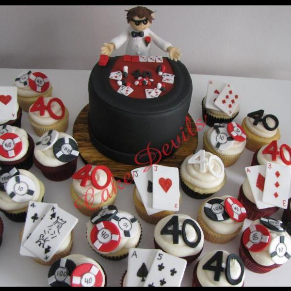 Casino Dealer, Casino Cupcake Toppers, Handmade edible, Fondant, Casino Cake Decorations, playing card cake toppers, fondant poker chips